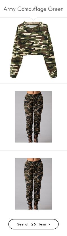 """""""Army Camouflage Green"""" by lullabycake ❤ liked on Polyvore featuring tops, t-shirts, sweaters, shirts, jackets, jumper, green, olive green shirt, green shirt and long-sleeve shirt"""