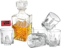 Paksh Novelty Italian 7-Piece Whiskey Decanter and Whiskey Glasses with Stopper, 6-Piece Cocktail Glasses and Cloth