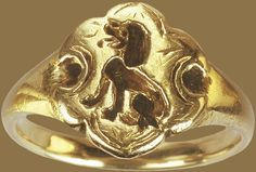 """Circa 15th-century England, this gold signet ring features the Talbot, an extinct hunting dog known for its courage, vigilance, and loyalty.The Talbot was also the badge of the medieval Earls of Shrewsbury, and John Talbot, the first Earl of Shrewsbury, was a famous soldier who is sometimes referred to as the """"English Achilles."""""""