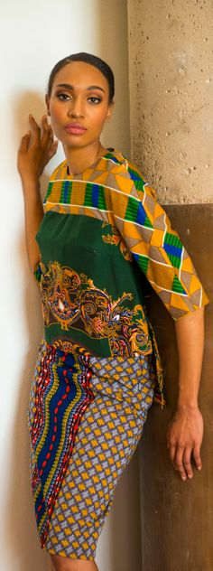 Pick a pair to of shoes to wear with this outfit, any color in you wardrobe should do. Green shoes, blue shoes, basic black shoes multi print shoes any will do. Sign up for our Black Friday sale and get this stylish fashion look. Printed pencil skirts and colorful blouses.
