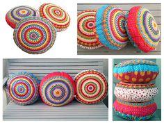 Ravelry: Sunrise ~ round pillow - cushion - crochet and sewing pattern ~ PDF, photo tutorial pattern by Paula Matos