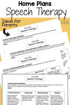 Parent-friendly home plans for speech therapy. These handouts were written to help home health and early intervention therapists with parent Speech Language Pathology, Speech And Language, Speech Therapy Activities, Daily Activities, Simple Sign Language, Early Intervention, Health Education, Physical Education, Special Education