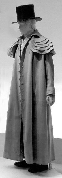 1812 ca. Man's Long Outdoor Coat, European. Wool, linen, cotton.  Length at CB: 60 in. (152.4 cm) Credit Line: Purchase, Irene Lewisohn Bequest, 1988 metmuseum.org