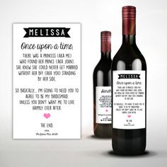 Will you be my bridesmaid funny wine bottle invitation sticker,fairy tale wedding, wine bottle label, Once upon a time bridesmaid invite