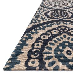 Printed Flatweave Brooke Natural/ Navy Rug (7'9 x 9'9) | Overstock.com Shopping - The Best Deals on 7x9 - 10x14 Rugs