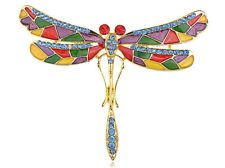 Colorful Enamel Painted Mosaic Wing Skinny Body Crystal Dragonfly Pin Brooch