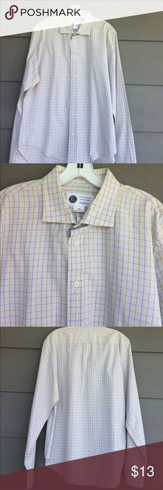 Club Monaco men's classic fit dress shirt No iron cotton check men's shirt.  Classic fit.  Excellent condition Club Monaco Shirts Casual Button Down Shirts