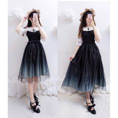 {Normal Version}Galaxy Blue/Black Starry Fairy Dress SP179990