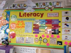Literacy working wall at school Year 4 Classroom, Classroom Display Boards, Ks1 Classroom, Display Boards For School, Classroom Organisation, Classroom Decor, Bulletin Boards, English Classroom Displays, Primary Classroom Displays
