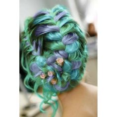 Should do the bridal parties hair like this with sunflowers or pearls or something