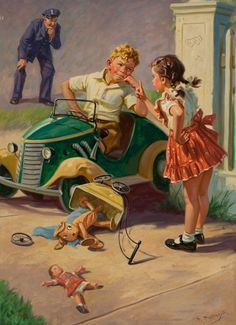 'The Last Word' - by Hy (Henry) Hintermeister (American, Illustrations Vintage, Illustrations Posters, Illustration Art, Vintage Pictures, Vintage Images, Vintage Children's Books, Vintage Art, Vintage Prints, Vintage Posters
