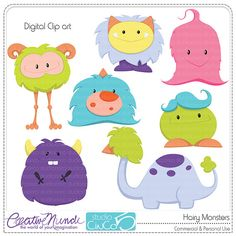 Buy 2 get 1 FREE - Hairy Monsters - Digital Clip Art , Commercial Use Clipart, Scrapbook, Printable - INSTANT DOWNLOAD