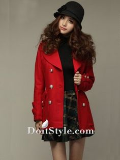 Images of Red Pea Coat - Reikian