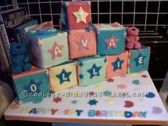 Coolest Building Blocks Cake... This website is the Pinterest of birthday cake ideas