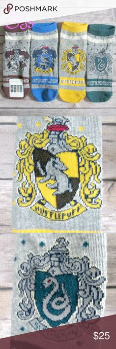 "Harry Potter House Crest Ankle Socks 4 Pair Bundle Gray ankle socks with each Hogwarts House crest. Gryffindor, Ravenclaw, Hufflepuff, Slytherin.  You will get one pair of each House.  This listing is for a bundle of 4 pairs.  Please note the ""tag"" is on one pair of socks.  Condition: NWT Type: Accessories Style: Ankle Socks Brand: Harry Potter Size: 6 - 10 Color: Gray, Maroon, Blue, Yellow, Green Materials: Poly Cotton  DD0.5:201728120616:5:002HP Harry Potter Accessories Hosiery & Socks"
