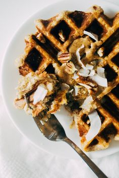 A delicious, mostly healthy recipe for Belgian Style Waffles made with spelt flour and naturally sweetened with banana and maple syrup! Waffle Mix, Waffle Iron, Healthy Waffles, Belgian Style, Unsweetened Almond Milk, Plant Based Protein, Morning Food, Cinnamon Rolls