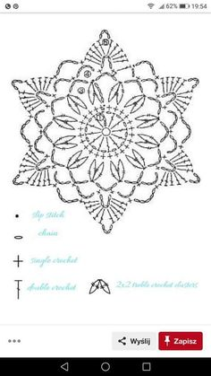 Crochet christmas star diagram snowflake pattern ideas for 2019 Crochet Snowflake Pattern, Crochet Leaves, Crochet Stars, Crochet Snowflakes, Thread Crochet, Crochet Flowers, Crochet Stitches, Crochet Shawl Diagram, Crochet Motif