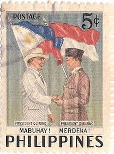 Indonesian first President Soekarno in the Philippines stamp