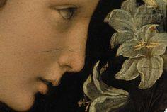 Annunciazione di Leonardo da Vinci, dettaglio (Tempera ed olio su tavola del 1475-80. Galleria degli Uffizi, Firenze.)