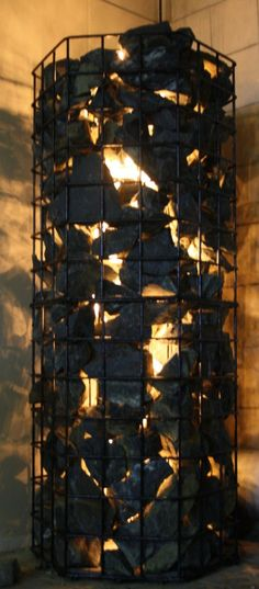 Gabion basket with light