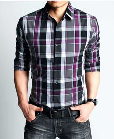 Mens Style. Generally find plaid over done but love the purple. and the clothe belt. ROLLED SLEEVES. HIGH RISK BIG WIN.