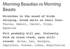 I'm actually a morning beast, don't fuck with me in the morning but anyways I'm an #Aquarius