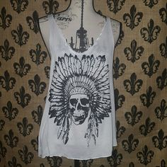 🍒 INDIAN Chief  tank Awesome Indian tank,  perfect with another tank underneath or swim suit top.    Has been washed and dryed.  The print is in perfect condition as well.   Bought in a boutique in Moab Utah.   RETAIL $48  Please ask any and all questions before purchasing this item. Tops Tank Tops