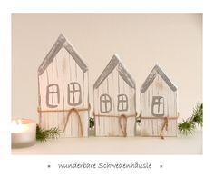 Deko-Objekte - 3 Schweden - Häuschen Holz Winterdeko Herbstdeko - ein Designerstück von uggla-deko bei DaWanda