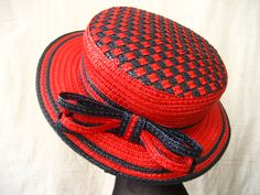 """Boater """"Red and Blue"""" by Cap'a di Carina #millinery #judithm #hats"""