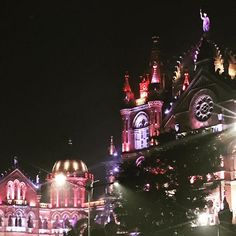Mumbai at night. My first time in this incredible city. Chhatrapati Shivaji Terminus, India Tour, Empire State Building, Mumbai, First Time, Tours, The Incredibles, Night, City