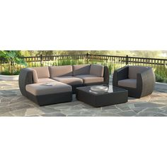 CorLiving Seattle Curved 6-piece Sofa with Chaise Lounge and Chair Patio Set (Curved 6pc Sofa with Chaise and Chair Patio Set), Black, Size 6-Piece Sets, Patio Furniture (Fabric)