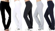 Women's Premium Heavy Weight Cotton Fold Over Yoga Pants Workout Leggings