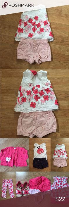 Pretty Poppy Pink shorts and matching flowered top Pretty Poppy line. Shirt worn half a dozen times, shorts worn once. In great shape. Super cute. See separate listings for matching clothes and accessories. Gymboree Matching Sets