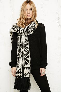 Long Fluffy Knitted Scarf in White at Urban Outfitters by DaisyCombridge