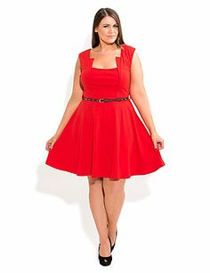 Update your winter wardrobe with our fashion forward Stud Belt Skater Dress. Boasting a beautiful square neckline, this classic dress features a seamed waist, belt loops, removable studded belt and an invisible back zip with hook and eye closure. sonsi.com