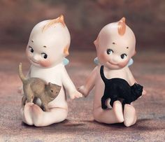 The Wee Ones: 95 Two German All-Bisque Kewpies with Cats