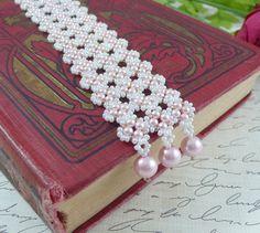 Brazalete tejido pulsera semilla de perlas y perlas de color