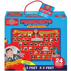 New edition of T.S. Shure bestselling US Presidents Jumbo Floor Puzzle is a great introduction of the US history for preschool kids. Manufactured by T.S.Shure.