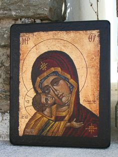 Handmade Byzantine icon Virgin Mary with Jesus child by Sebamadeit