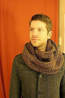 Cozy Men's infinity scarf. So easy it's FREE. Use loose tension for flexibility. I used RedHeart SuperSaver yarn.