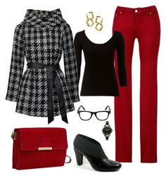 """Deep Red"" by fiftynotfrumpy ❤ liked on Polyvore featuring Armani Jeans, Lipsy, MANGO, New York Transit, FOSSIL, Susan Caplan Vintage, jeans, booties, jackets and tees"