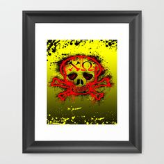 Chi Omega, black & red Skull. Framed Art Print by seb mcnulty - $32.00