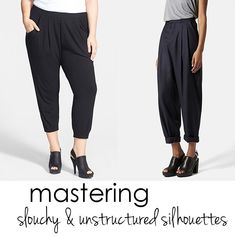 Tips for making slouchy pants and oversized blouses work on a curvy figure