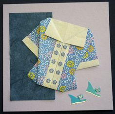 Handfolded origami blouse card.
