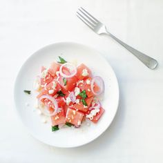 Frisse Watermeloen Salade Salad Dressing, Bruschetta, Summer Recipes, Feta, Salads, Soup, Dishes, Vegetables, Ethnic Recipes