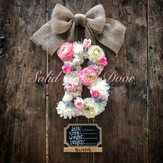 Custom Floral Letter Hospital Door Hanger Flower Initial door