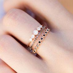 14kt gold and black diamond medium bezel ballerina ring *total diamond weight: .38ct *ring seen as third ring in stack
