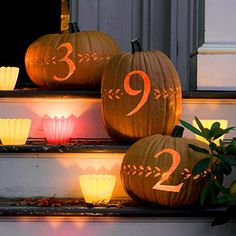 5 Unique Pumpkin Carving Ideas ~ Love the Address pumpkins that are pictured..