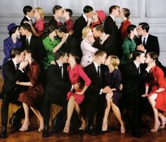wedding idea..all the married couples in both family's kissing :)