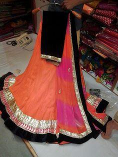 Orange with blackbvelvet borders georget lehenga set by Araina fabs mount abu Lehenga Designs Latest, Summer Dresses, Women's Dresses, Dress Me Up, Designer Wear, Indian Wear, Indian Outfits, Asian Woman, Latest Fashion Trends
